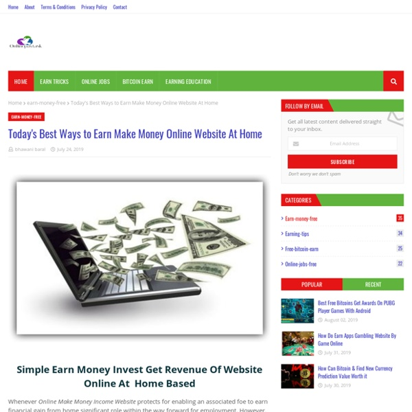 Today's Best Ways to Earn Make Money Online Website At Home