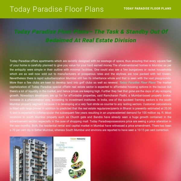 Today Paradise Floor Plans