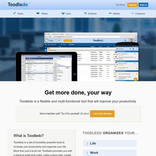 Toodledo : A to-do list to organize your tasks