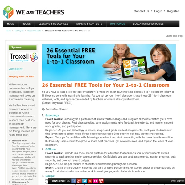26 Essential FREE Tools for Your 1-to-1 Classroom - WeAreTeachers - Troxell