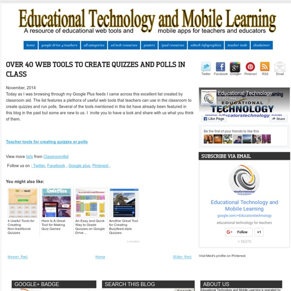 Educational Technology and Mobile Learning: Over 40 Web Tools to Create Quizzes and Polls in Class