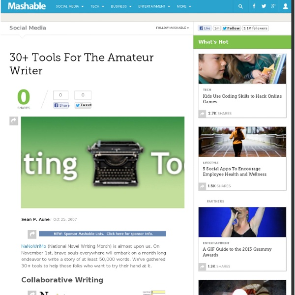 30+ Tools For The Amateur Writer