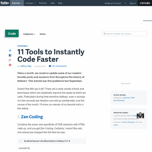 11 Tools to Instantly Code Faster