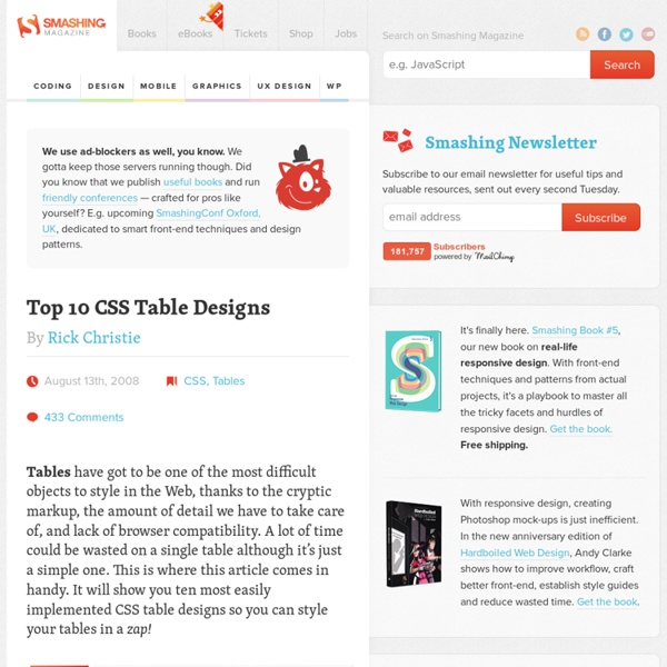 Top 10 css table designs pearltrees for Best table css