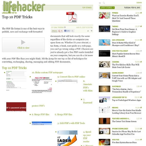 Lifehacker Top 10: Top 10 PDF Tricks - Lifehacker