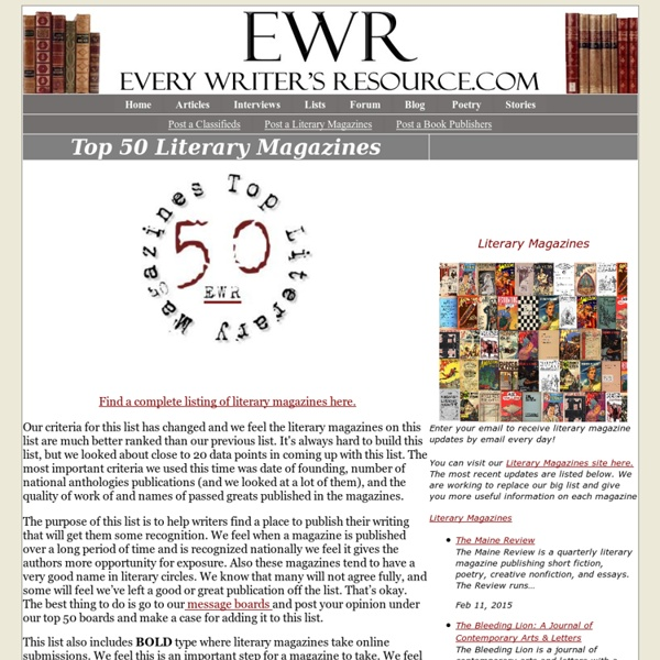 Top 50 Literary Magazines | Pearltrees