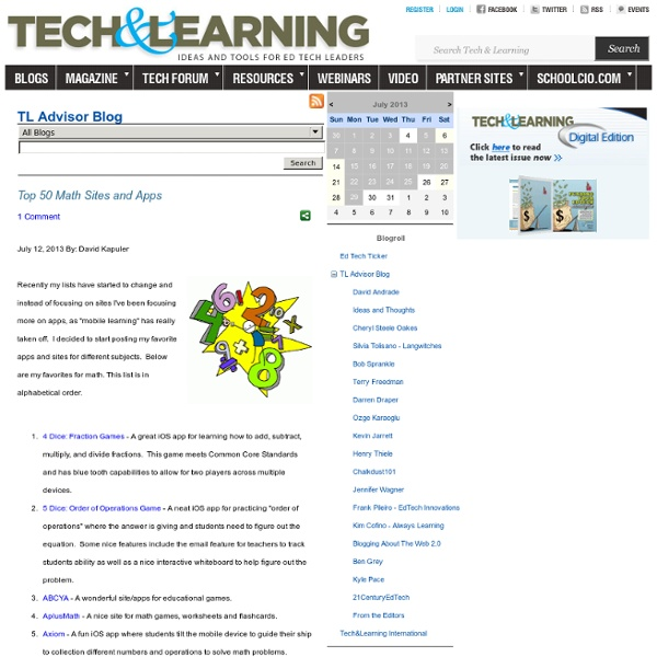 - Top 50 Math Sites and Apps