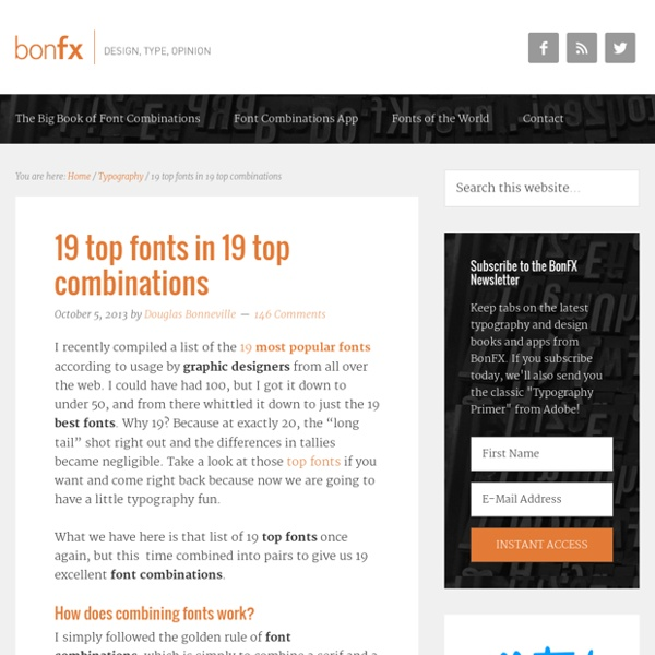 19 top fonts in 19 top combinations : BonFX - Graphic Design and Typography Blog
