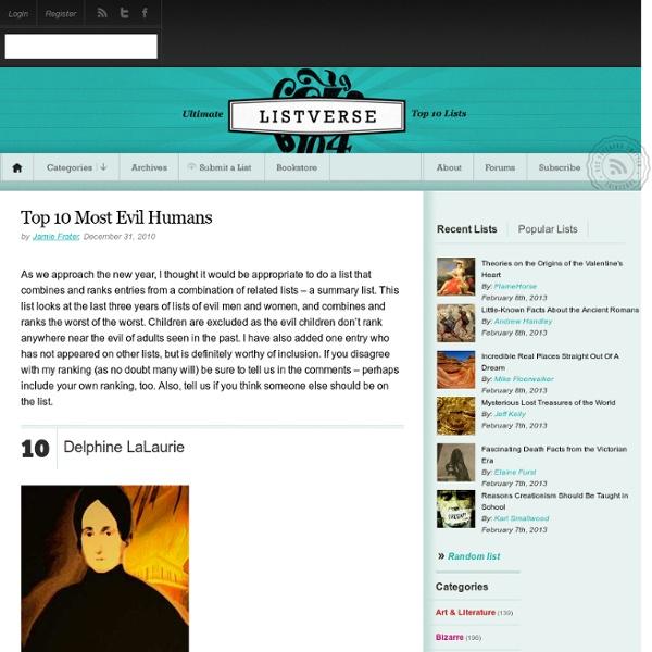 Top 10 Most Evil Humans