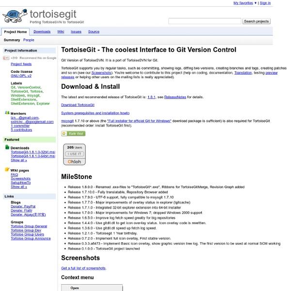 Tortoisegit - Porting TortoiseSVN to TortoiseGit