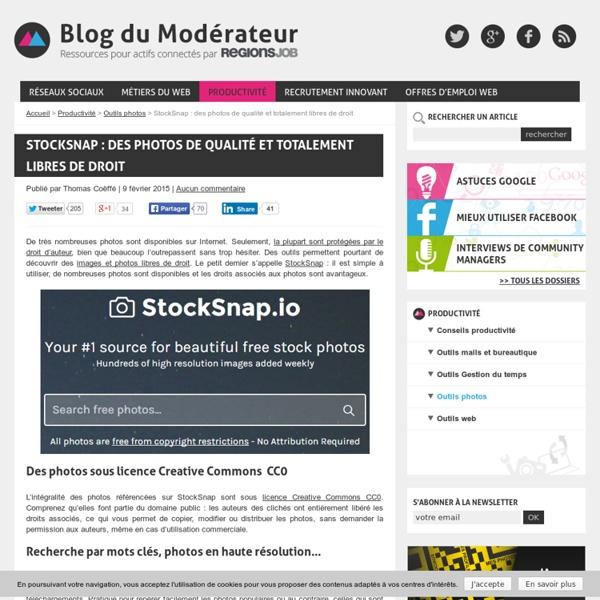 StockSnap : des photos de qualité et totalement libres de droit