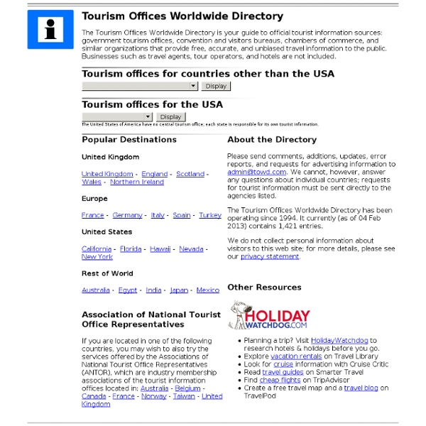 Tourism Offices Worldwide Directory