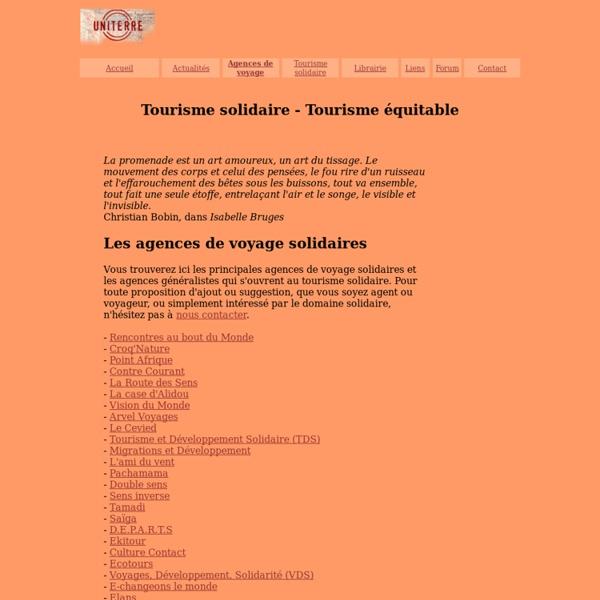 Agences de voyage du tourisme solidaire - Tourisme équitable - Le dossier de tourisme-solidaire.uniterre.com