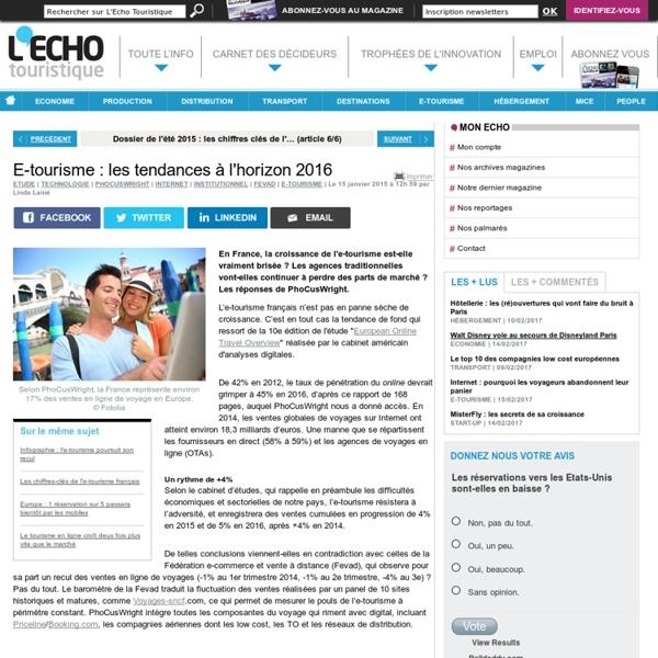 E-tourisme : les tendances à l'horizon 2016