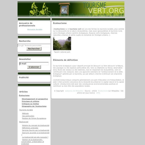 Tourisme vert » Écotourisme