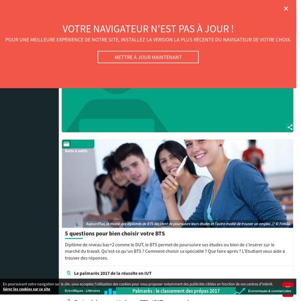 Tous les BTS et DUT en fiches sur Letudiant.fr