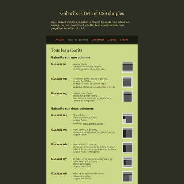 Tous les gabarits — Gabarits HTML-CSS