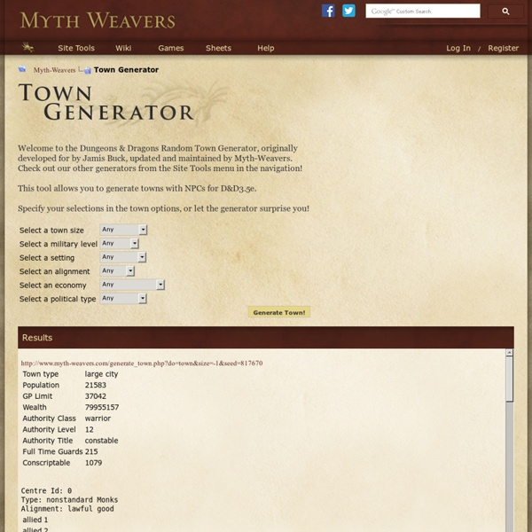 Town Generator for D&D