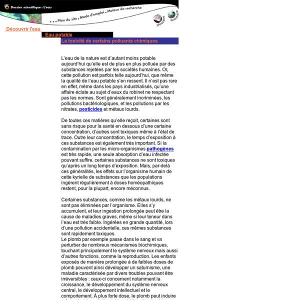 Eau potable : toxicite de polluants chimiques