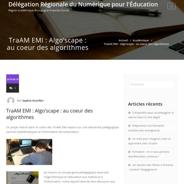 TraAM EMI : Algo'scape : au coeur des algorithmes