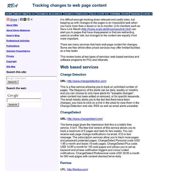 Tracking Web Page Changes