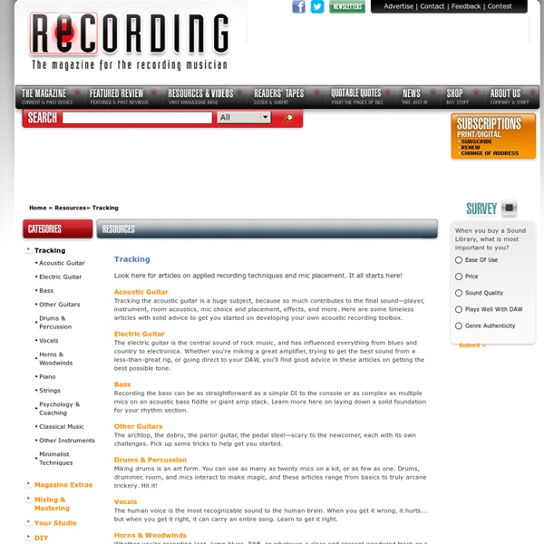 - Tracking : Resources and Information
