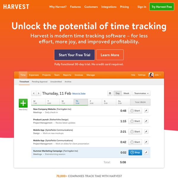 Simple Online Time Tracking Software - Harvest