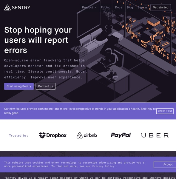 Sentry: Track exceptions with modern error logging for JavaScript, Python, Ruby, Java, and Node.js