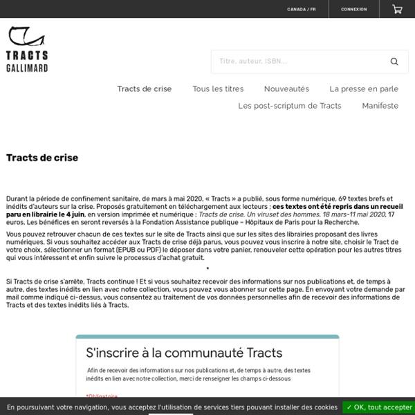 Des textes brefs et inédits à télécharger sur le site de l'éditeur Tracts