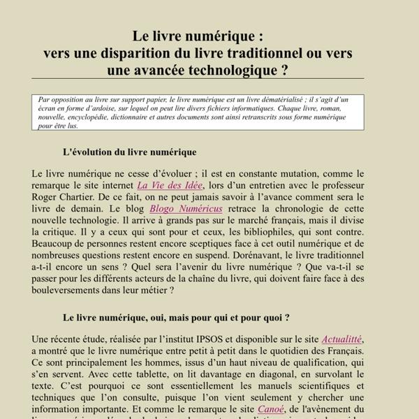 Le livre numérique : vers une disparition du livre traditionnel ou vers une avancée technologique