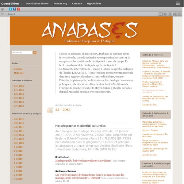 Anabases - Traditions et réceptions de l'Antiquité
