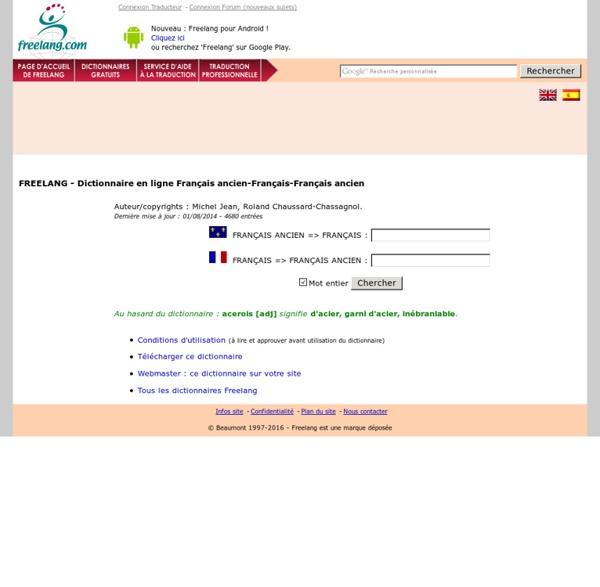 Dictionnaire en ligne Français ancien-Français et Français-Français ancien