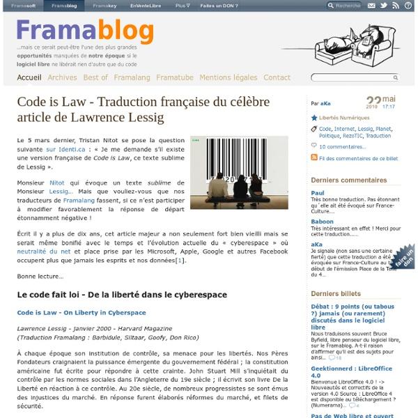 Code is Law - Traduction française du célèbre article de Lawrence Lessig