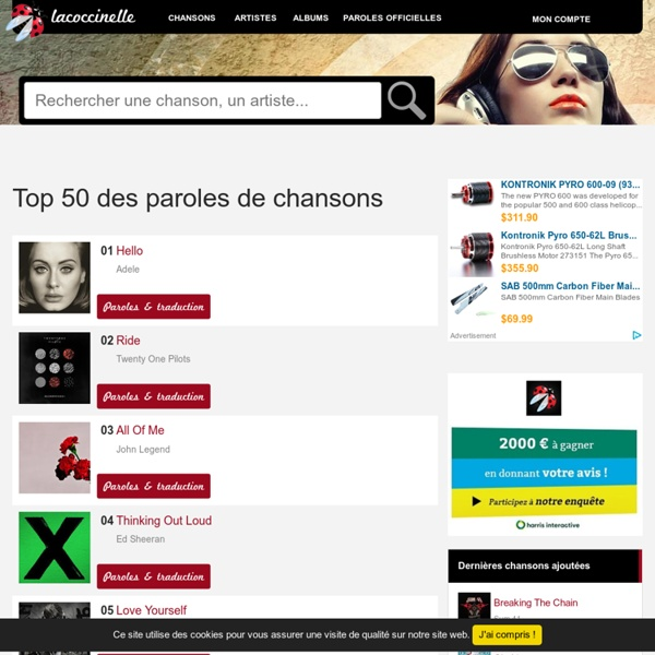 Paroles de chansons et traductions sur LaCoccinelle.net PAROLES DE MUSIQUE