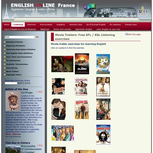 English on line - Movie Trailers - Free EFL / ESL Listening exercises