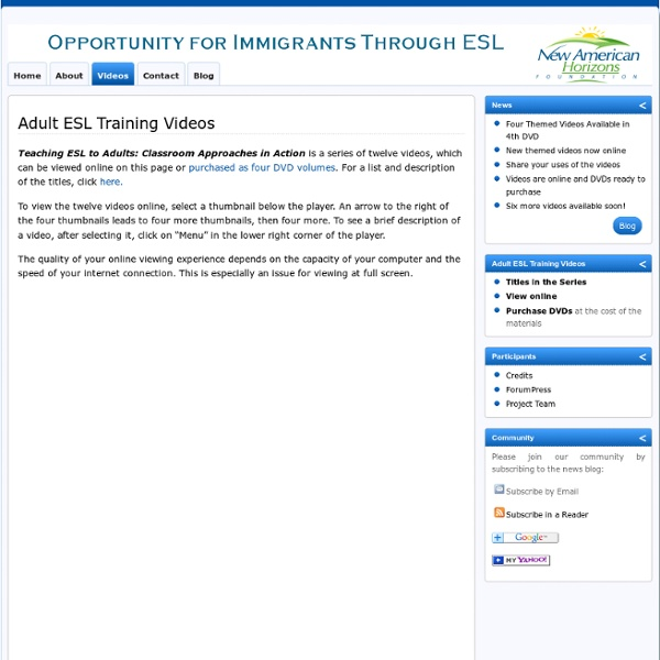 Adult ESL Training Videos » New American Horizons