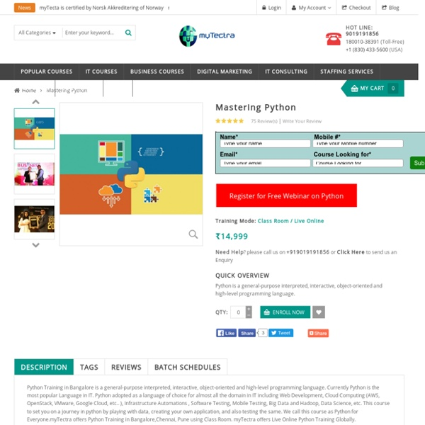 Python Training in Bangalore Classroom, Online myTectra