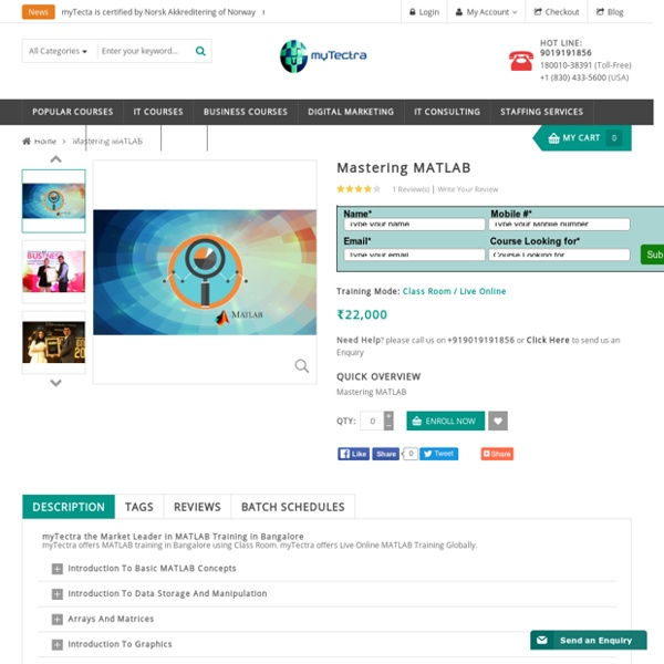 MATLAB Training in Bangalore Classroom, Online myTectra