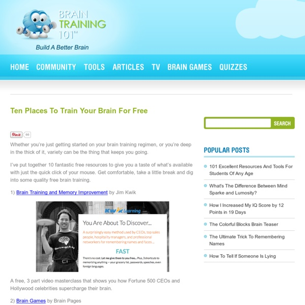 The Top Ten Places To Find Free Brain Training