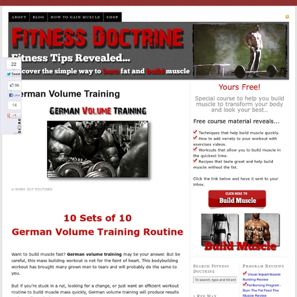 Build Muscle Fast With The 10 Sets of 10 German Volume Training Routine — Fitness Doctrine