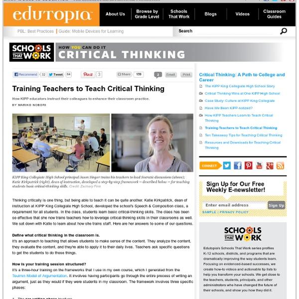 Training Teachers to Teach Critical Thinking