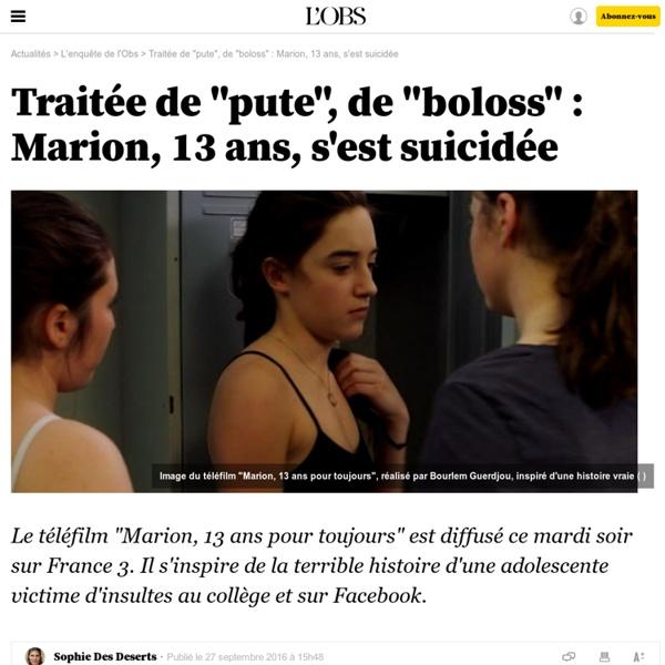 """Traitée de """"pute"""", de """"boloss"""" : Marion, 13 ans, s'est suicidée - 27 septembre 2016"""