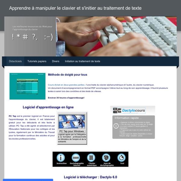 Apprendre à manipuler le clavier et s'initier au traitement de texte - Didacticiels