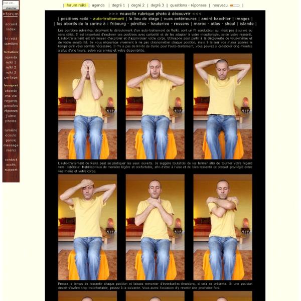 Auto-traitement Reiki - Listes des positions suggérées lors d'un auto-traitement de Reiki