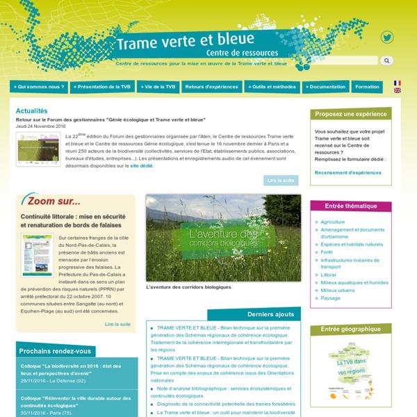 Centre de ressources Trame verte et bleue, le site des ressources pour la mise en œuvre de la Trame verte et bleue