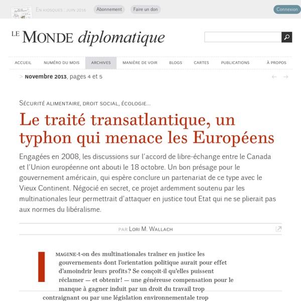 Le traité transatlantique, un typhon qui menace les Européens, par Lori M. Wallach