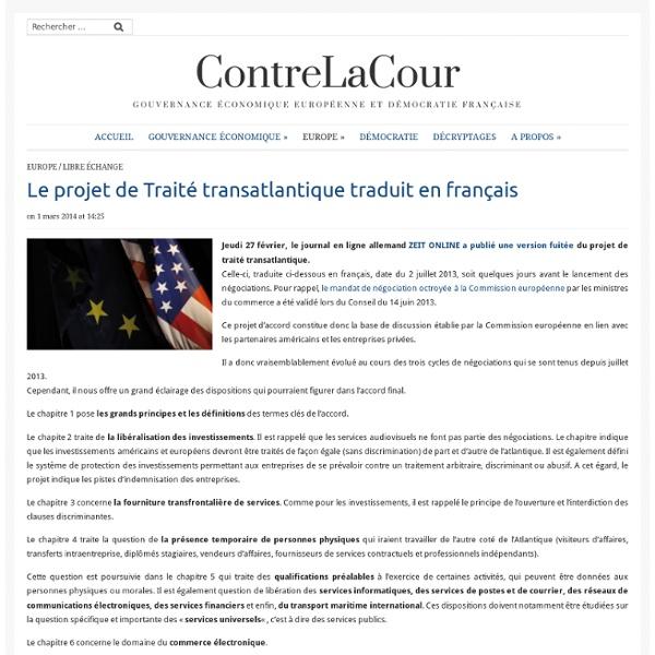 Le projet de Traité transatlantique traduit en français