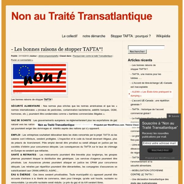 Non au Traité Transatlantique