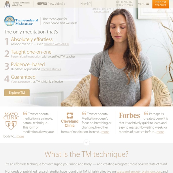 The Transcendental Meditation (TM) Program - Official website. How and where to learn.