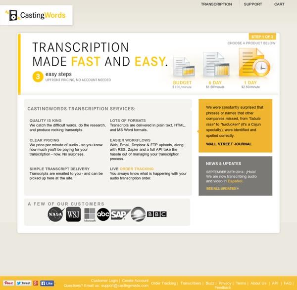 Audio Transcription Services: MP3s, Video and more... CastingWords